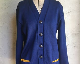 Vintage Blue Wool Letterman Sweater with Yellow Accents and Embroidered Name