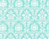 SHOP CLOSING SALE Michael Miller fabric by the yard Petite Dandy Damask in Aqua 1 Yard