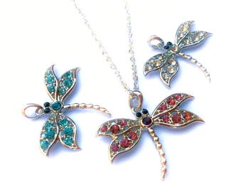 1 Dragonfly Pendant - Rhinestone Drafonfly - Crystal Dragonflies - Fast Shipping from USA