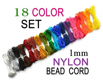 Blythe Pull String, 1mm Nylon Cord in 18 Colors for PullRing Charms, Beading Thread, Kumihimo Bracelet Cording