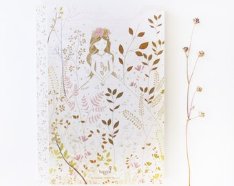 Wedding Notebook, Illustrated book - Gold & Gray Princess - Stationery
