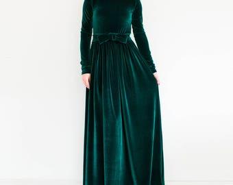 VELVET green dress/ plus size dress/ maxi dress/ Long sleeve dress/ formal maxi dress/ Green dress plus size/ Long green dress/ modest dress
