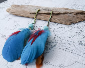 Ethnic Style Long Boho Feather Earrings, Pierced Gold Tone Adornment Dangles