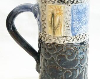 ceramic cactus coffee mug 20oz  stoneware 20D056