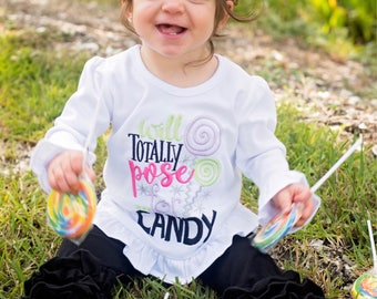 Will Totally pose for CANDY - Girl's holiday - Halloween Applique Shirt - Girl's Halloween Shirt - Holiday Designs - Monogrammed Shirt