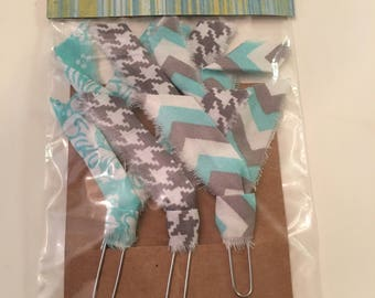Fabric embellished paper clips,  journaling, book marks