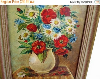 20% Summer SALE MAKE An Offer~Vintage Painting Signed LANGE/Lance...Still Life Mid-Century Flowers