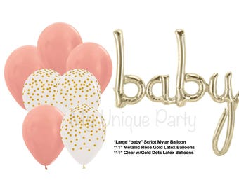 Baby Balloon Banner Baby Script Balloon Air Fill only White Gold Mylar / Clear w/Gold Dots & Rose Gold Balloons 11 Latex Helium Quality