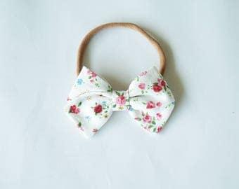 Linen Hand Folded Bow Headband Nylon Skinny Headband