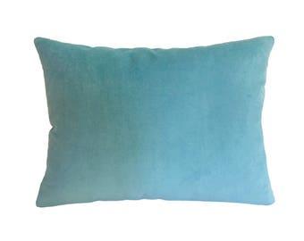 "Aqua Blue Velvet Suede Decorative Throw Pillow Cover / Pillow Case / Cushion Cover / 12x16"""