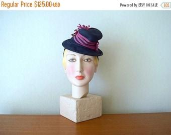 25% SALE 1930s 1940s tilt hat . vintage 30s 40s hat