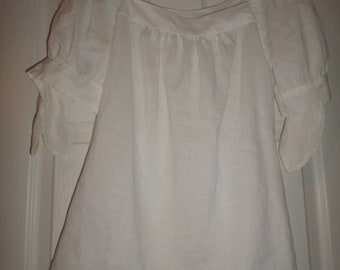 Vintage Linen Blouse Top Tunic White 100% Linen Puff Sleeves tie Sleeves