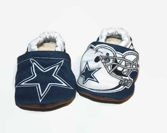 Cowboys baby shoes baby football moccasins vegan shoes dallas baby booties sports indoor shoes indoor slippers toddler shoes dallas cowboys