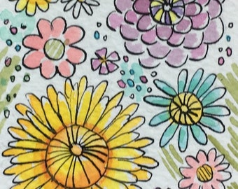 Floral Aceo , Original Painting, ACEO Art, Watercolor