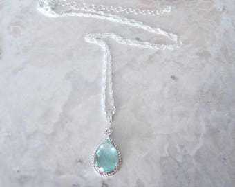 Aquamarine necklace, Czech glass, Sterlings Silver necklace, Bridal necklace, Something blue, March Birthstone, Bridesmaids necklace,