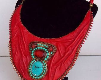 Summer sale -15% It's hot red collar, Statement necklace, Seed beaded jewelry, Bead Embroidery,Tibetan turquoise gemstone, Red leather neckl
