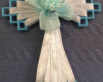Blue Ribbon Cross Bookmark, Gifts, Necklace, Card Inserts, and more