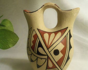 Rare Vintage Genuine Small Southwestern NATIVE AMERICAN Made Primitive WEDDING Marriage Pot Jug- Birthday Gift Him Her Mom Dad Mother Teen