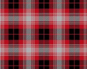 David Textiles Plaid Anti Pill Fleece Fabric by the Yard - Black/ Grey/ Red
