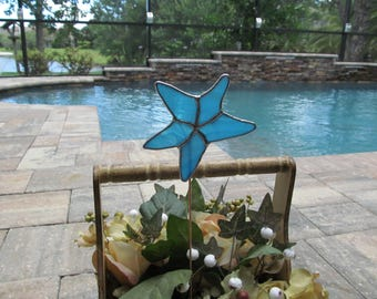 Starfish Garden Marker/Plant Stake in Aqua and White Wispy Translucent Glass -  Authentic Stained Glass