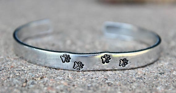 Paw Prints Cuff Bracelet, Paw prints Bangle, Gift for Dog Lover, Pawprints, Paw Print Bracelet, Dog lover Jewelry, Pawprints Bangle Cuff