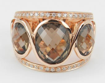 6.40ct Diamond and Oval Smokey Topaz Ring Three Stone Band 14K Rose Pink Gold Size 6