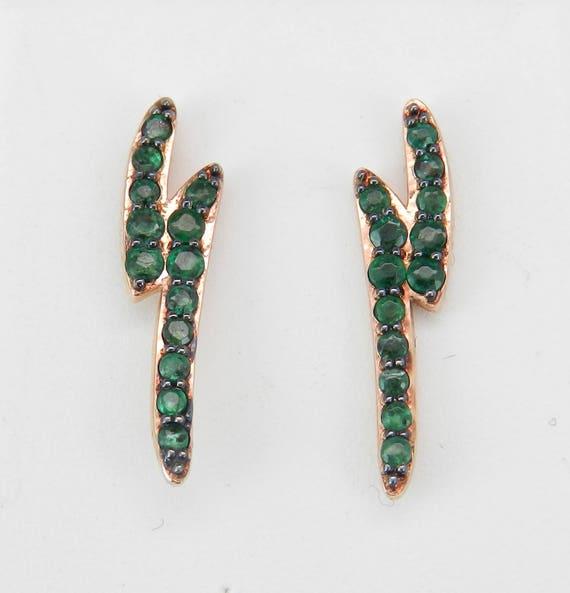 14K Rose Gold Emerald Stud Earrings Lightning Bolt Studs Green May Birthstone