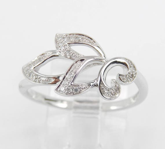 Diamond Filigree Cocktail Cluster Fashion Ring White Gold Size 7 Birthday Gift