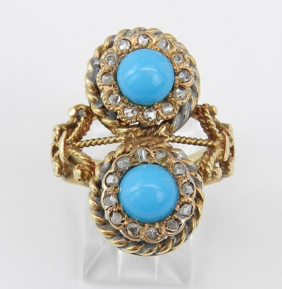 14K Yellow Gold Antique Vintage Turquoise and Rose Cut Diamond Cocktail Ring Size 6.5
