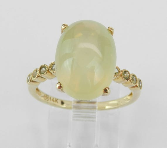 Diamond Lemon Quartz Peridot Unique Engagement Ring 14K Yellow Gold Size 7
