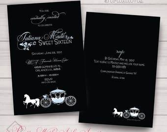Sweet Sixteen, Wedding, Birthday, Shower Party Invitations. Black, Fantasy, Classy, Blue, Cinderella, Magical, Carriage Samples/Printing/DIY