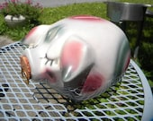 clean vintage shiny unusual colors 1957 hull pottery  CORKY PIG piggy BANK original cork