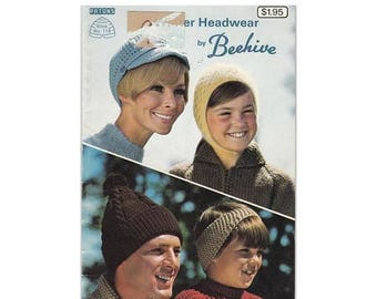 On Sale 1970s WInter Headwear Knitting Crochet Patterns by Beehive Patons Book 118 Hats/Caps/Hoods/Headbands/Touques/Bonnets/Funky Hats for