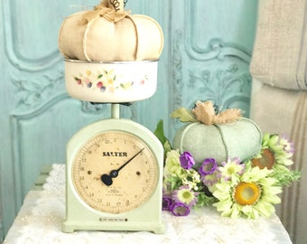 Farmhouse Kitchen Scale - Salter Shabby Mint Green Scale - European Kitchen Scale