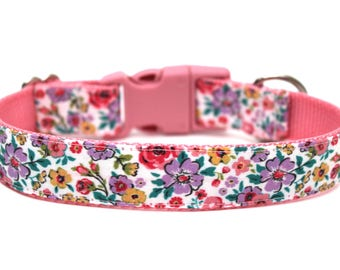 "Floral Dog Collar 3/4"" or 1"" Flower Dog Collar"