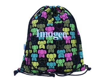 Personalised Backpack, Swim Bag, Drawstring Bag - Elephant