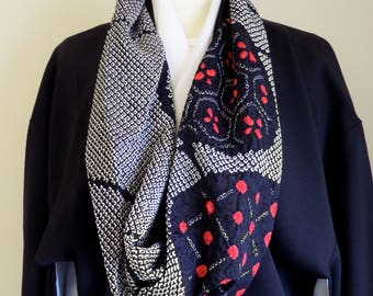 """S147  Japanese Shibori """"Twistr"""" scarf; """"Joanna"""" Stunning black/white/red,42"""" in loop:special;formal;chic;relaxed;individual;flattering"""