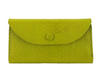 Jasmin Python Embossed Leather Wallet in Lime Green