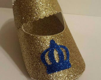 2 Glitter baby shoe baby shower favor boxes Royal little prince Royal blue Gold Cake topper, centerpiece or favor box