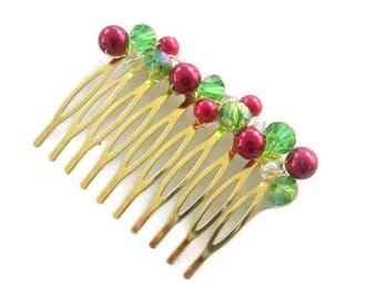Red and Green Hair Comb, Christmas Hair Comb, Christmas Wedding Hair Accessory, Red Pearl Hair Comb, Winter Wedding Hair Comb, Xmas gift