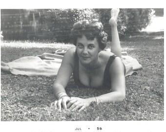 "Vintage Snapshot ""Busty Bathing Beauty"" Cleavage Low Neckline Bathing Suit Bracelets Found Vernacular Photo"