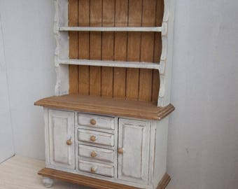 Rustic Hutch Pickled White in 1:12 Scale for Dollhouse Miniature Country Kitchen