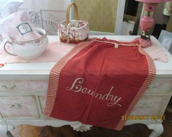 Rare Red Antique Laundry Bag Embroidered Canvas Drawstring Stripes Farmhouse Cottage