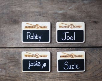 Chalkboard Name Tags, Reusable name tags, 50 Custom Work Name Tags, Business Name Tags,  Magnetic Name Tags for Restaurants, Made in the USA