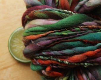 Victorian - Handspun Merino Wool Yarn Bulky Red Green Purple