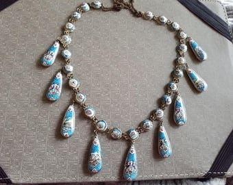 Vintage Enameled Persian Silver festooned Necklace