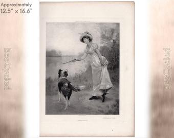 Fetch It Sir Hamilton Hamilton Antique Photogravure Print woman and dog Goupil Vintage Paper Ephemera ready to frame antique art zyxG2