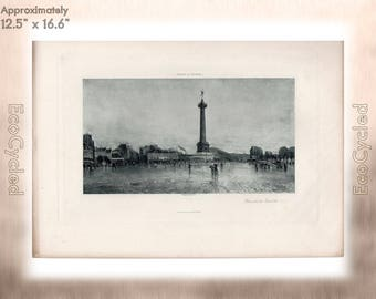Place de la Bastille Paris by Frank Myers Boggs Antique Photogravure Print Goupil Vintage Paper Ephemera ready to frame antique art zG12