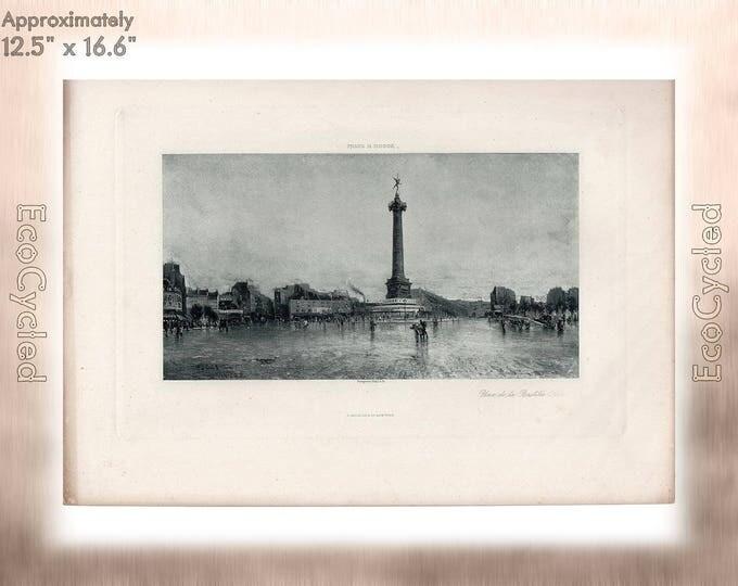 Place de la Bastille Paris by Frank Myers Boggs Antique Photogravure Print Goupil Vintage Paper Ephemera ready to frame antique art zG12