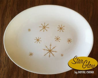 Vintage 1950s/60s Star Glow oval serving platter by Royal China atomic starburst pattern kitchenware dinnerware plate